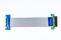 Böjlig PCI-E x4 till för riserkort för PCI-E x4 isolaten på vit Arkivfoto