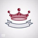 Böljer den imperialistiska kronan för vektorn med bandet Klassisk krona med stock illustrationer