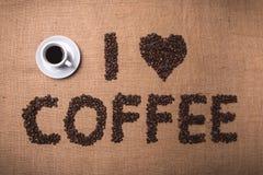 bönakaffe som jag älskar arkivfoton