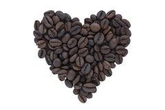 bönakaffehjärta gjorde form Arkivbild