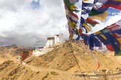Bönen sjunker att leda till den Leh slotten Fotografering för Bildbyråer