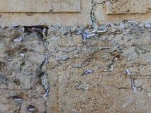 BÖNER, MEDDELANDEN OCH ÖNSKA I DEN VÄSTRA VÄGGEN, JERUSALEM, ISRAEL arkivbild