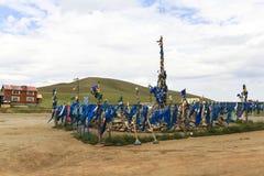 Bönflaggor i Mongoliet Arkivfoton