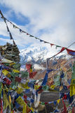 Bönflaggor på Himalayan toppmöte Arkivfoto