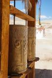 Bönhjul på den Basgo kloster, Ladakh, Indien Royaltyfri Fotografi