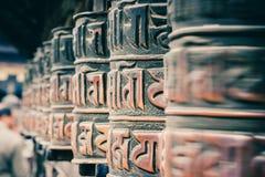 Bönhjul på den Swayambunath templet, Katmandu, Nepal Arkivfoto