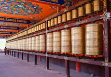 Bönhjul på Yarchen Gar i Sichuan, Kina Arkivfoton