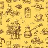 Bönor för coffeine för plockning för bonde för koloni för kaffeproduktionvektor på träd- och tappningteckning dricker det retro k royaltyfri illustrationer