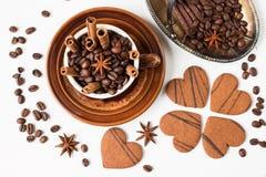 bönor frukosterar ideal isolerad makro för kaffe över white Top beskådar Arkivbild