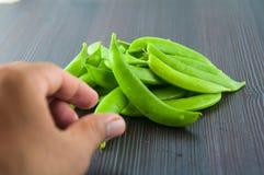 Bönor haricot vert, ärtor, morot, lagade mat haricot vert, radbönor, sparris, snittharicot vert, havre, grönsaker, brocco Royaltyfri Bild