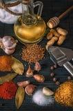 Bönor och kryddor Fotografering för Bildbyråer