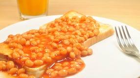 Bönor på rostat bröd Royaltyfri Bild