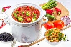Bönor som lagas mat i långsam spis. fotografering för bildbyråer