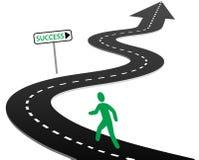 börja framgång för resan för kurvhuvudvägen begynnelse- till Arkivbild