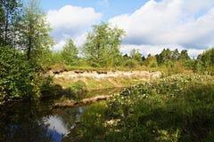 Början av hösten på floden Serezha Royaltyfri Fotografi