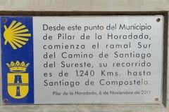 Börjansöder av Caminoen de Santiago i Pilar de La Horadada Arkivfoto