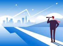 Börjanväg Affärsman på vägbörjan Tillfälle och ledarskap, vinst och ny utmaningmotivationaffär stock illustrationer