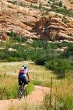börjar den svåra bergtrailen för cyklisten Arkivbild
