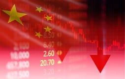 Börse Chinas/der Börseanalyseindikatorhandelsdiagrammdiagrammgeschäftskrise Shanghais roter Preispfeil hinunter Diagramm stockfoto