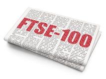 Börse indexiert Konzept: FTSE-100 auf Zeitungshintergrund Lizenzfreie Stockfotografie