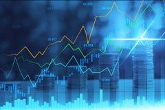 Börse oder Devisenhandelsdiagramm in der grafischen Doppelbelichtung lizenzfreie stockbilder