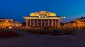 Börse in St Petersburg nachts Stockfotografie