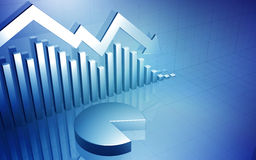 Börse-unten Pfeil mit Kreisdiagramm Stockfotografie