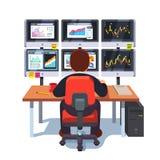 Börseaustauschhändler, der am Schreibtisch arbeitet lizenzfreie abbildung