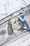Börsediagramm mit 100 Dollar Banknote Stockfoto