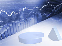 Börseen-Diagramm mit Kreisdiagramm Stockfotos