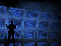 Börseen-Diagramme auf Fernsehen Lizenzfreie Stockfotos