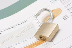 Börseendiagramm, Portefeuille und öffnen Vorhängeschloß Lizenzfreie Stockfotos
