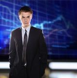 Börsegeschäftsmann in einer Klage gegen eine Str. Stockbild