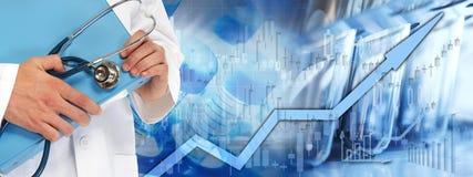 Börsehintergrund des Gesundheitswesens lizenzfreie stockbilder