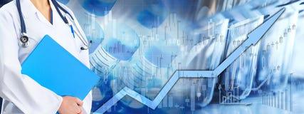 Börsehintergrund des Gesundheitswesens stockfoto
