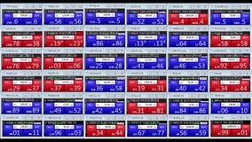 Börseindexwarenbörsentelegraph-Brettnachrichten der Devisen zeichnen auf schwarzem Hintergrund - belebte das Finanzgeschäft der n vektor abbildung
