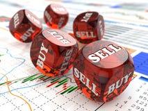 Börsekonzept. Würfel auf Finanzdiagramm. Stockfotografie