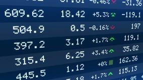 Börsenindizes, die auf Börsentelegrafanzeige, Aktienmarkt steigen und fallen lizenzfreie abbildung