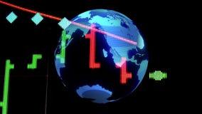 Börsenkursdiagramm mit golographic Erdkugel - Finanzgeschäft der neuen Qualität belebte dynamisches Bewegungsvideo vektor abbildung