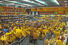 Börsenparkett des Chicago Mercantile-Austausches, Chicago, Illinois Lizenzfreie Stockfotos