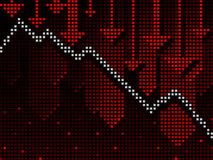 Börsentelegrafgeschäftsdiagramm, das unten geht Stockfoto