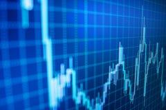 Börsgraf Finansiell statistikanalys på mörk bakgrund med att växa finansiella diagram arkivfoto