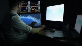 Börsmäklaren i den vita skjortan arbetar i ett mörkt övervaka rum med skärmskärmar BörshandelForex lager videofilmer
