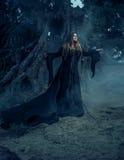 Böse Hexe in einem langen Weinlesekleid, wandernd durch nebelige FO Stockfoto