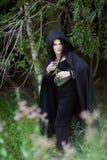 Böse Hexe versteckt sich hinter den Büschen Lizenzfreie Stockfotografie