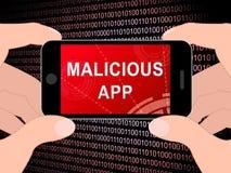 Böswillige APP-Spyware-Drohung, die Illustration 3d warnt Lizenzfreie Stockfotos