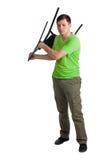 Böswilliger Mann mit Stuhl. Stockbild