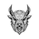 Búfalo blanco y negro del bosquejo de la cabeza de la tinta del vector del dibujo, toro, au libre illustration