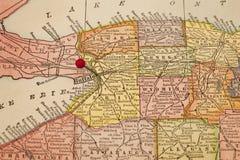 Búfalo em um mapa do vintage Fotografia de Stock