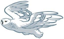 Búho blanco que vuela ilustración del vector